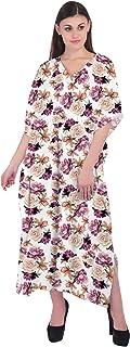 RADANYA Womens Floral Print Long Maxi Caftan Dress Loose Cotton Kaftan