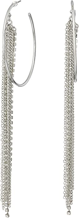 GUESS - Large Hoop with Chain and Rhinestone Fringe Earrings