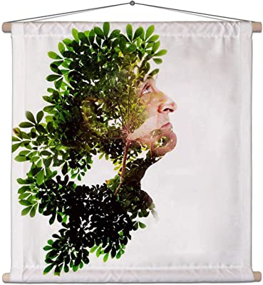 ArtzFolio Man Combined with Photograph of Nature Canvas Painting Tapestry Scroll Art Hanging 30 X 30Inch