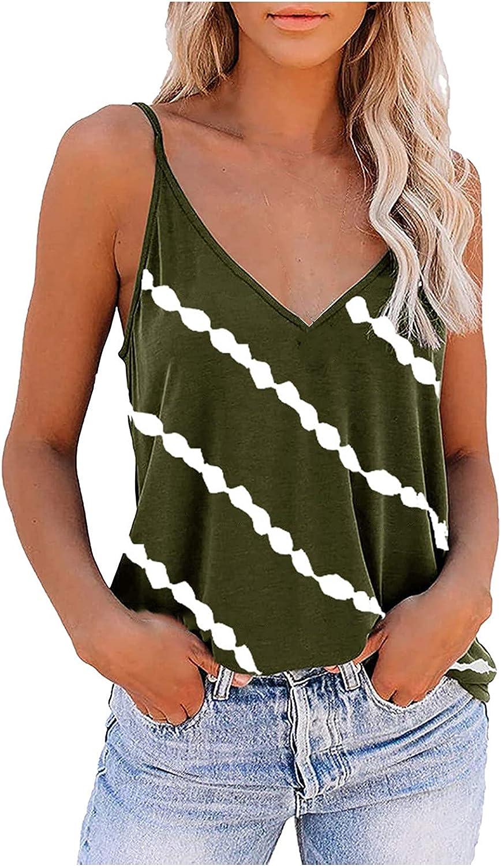 JPLZi Women's Boho Pleated V Neck Spaghetti Straps Tank Top Summer Sleeveless Shirts Blouse Loose Fit