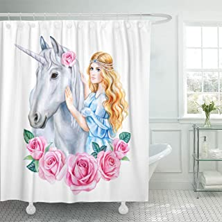 Emvency Waterproof Shower Curtain with Hooks Blue Crown Unicorn and Princess Flower in Wreath Girl Golden Hair Horse Cinderella Watercolor Clipart Roses 72