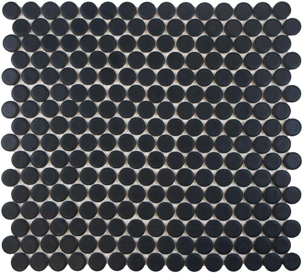 Matte Black Penny Round Porcelain Mosaic 10 店舗 Floor Sqft 休日 Box of