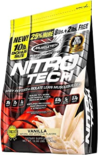 MuscleTech NitroTech Protein Powder Plus Muscle Builder, 100% Whey Protein with Whey Isolate, Vanilla, 10 Pounds (103 Servings)