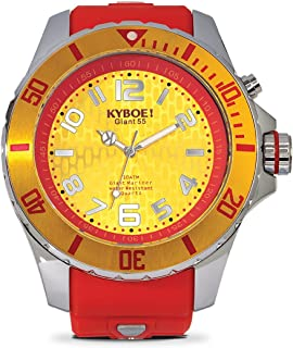 KYBOE! Power Stainless Steel Quartz Watch with Silicone Strap, red, 26 (Model: KY.55-014.15