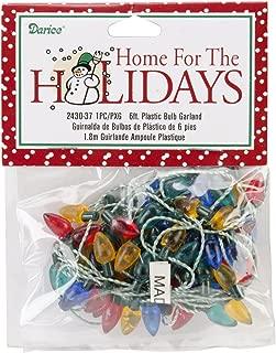 Darice Plastic Christmas Bulbs, 6-Feet, Garland-Multicolor