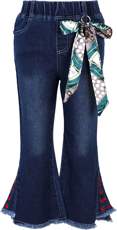 Freebily Kids Girls Fashion Casual Cotton Denim Jeans Bell-Bottom Ruffle Flare Elastic Pants Leggings Trousers Outfit