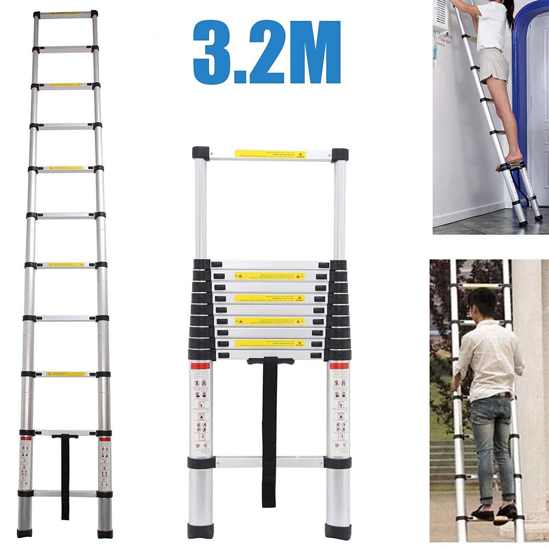 Autofather Escalera telescópica extensible de 3,2 m, 11 peldaños, telescópica, aluminio, portátil, ligera, 150 kg de capacidad de carga: Amazon.es: Coche y moto