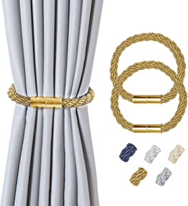 Hopeseily 2 Pack Curtain Holdbacks, Strong Magnetic Modern Style Curtain Tiebacks Convenient Window Decorative Rope Drapery Holders Clips for Home or Office Décor, Gold
