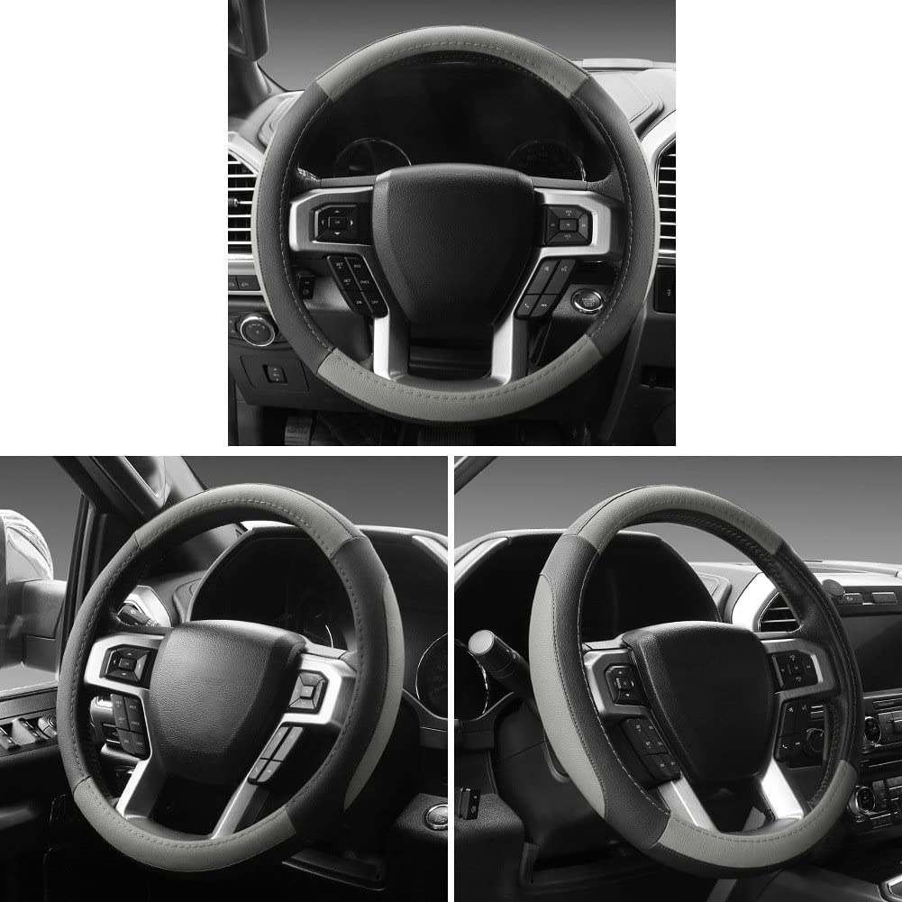 SEG Direct/Car/Steering/Wheel/Cover/for/All/Standard-Size/Steering/Wheels/with/14/1//2 inches/-/15 inches/Outer/Diameter,/Blue/Microfiber/Leather