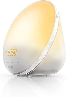 Philips Wake-up Light HF3510/01 - Despertador de luz led, radio FM, simulación del amanecer, 3 sonidos naturales, 1 alarma, sin cargador USB, 300 Lux