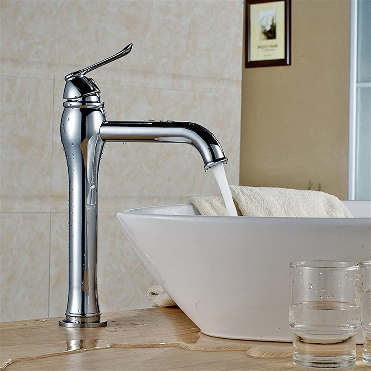 AQMMi Basin Sink Mixer Tap for Lavatory Chrome Single Lever Hot and Cold Water Bathroom Vanity Sink Faucet