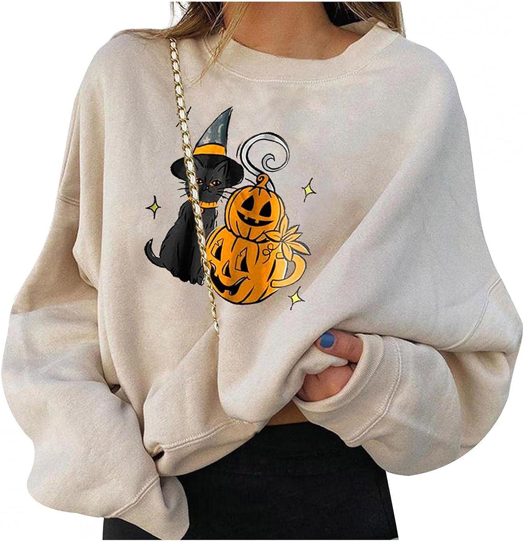 Womens Long Sleeve Tops,Halloween Pumpkin Funny Print Sweatshirts Loose Shirts Pullover Tops Blouses