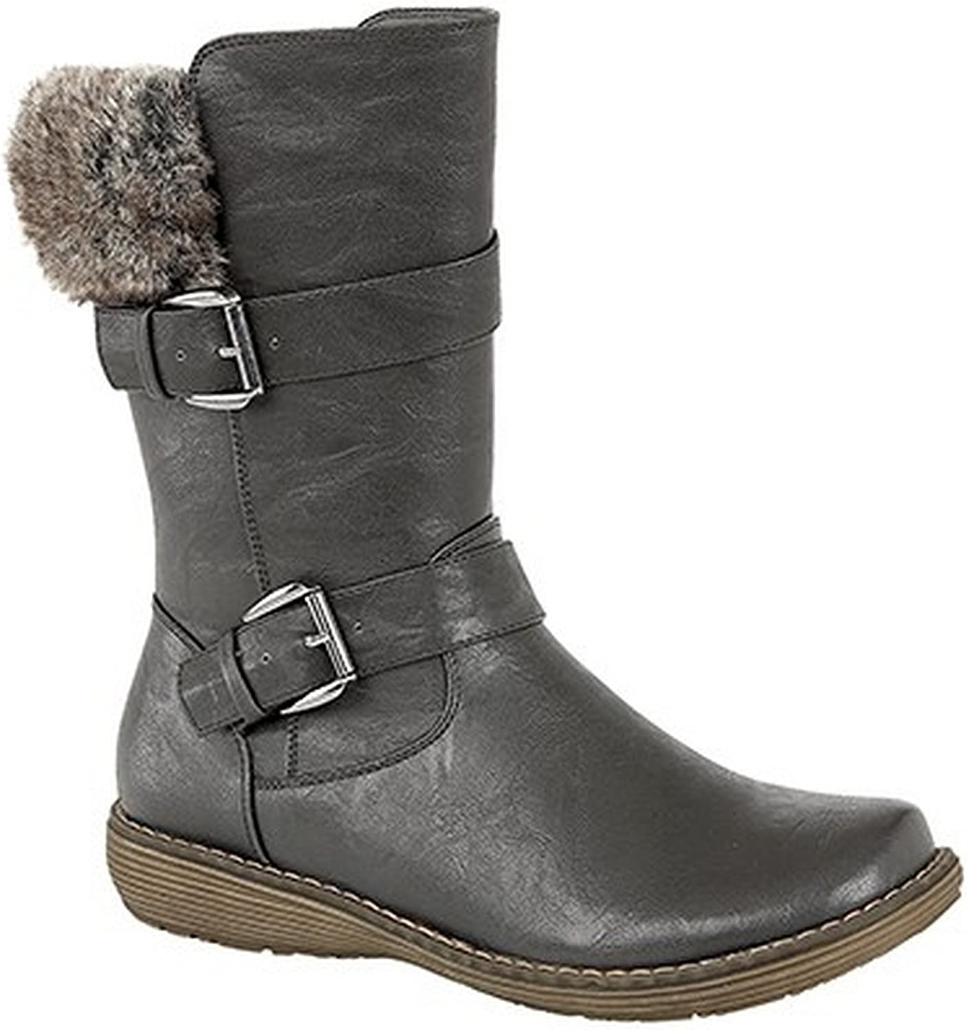 Cats Eyes Womens Ladies Twin Buckle Mid Calf Boots