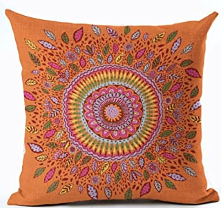 European Colorful Retro Floral Compass Medallion Orange Color Home Throw Pillow Case Personalized Cushion Cover NEW Home Office Decorative Square 18 X 18 Inches