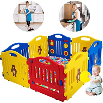 Home GYMAX Baby Panel for Toddlers Colour 1 Play Yard Center for Nursery Kids Activity Panels Kindergarten Safety Baby Fence with Door