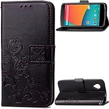 Nexus 5 Funda, SATURCASE Lucky Clover Cuero De La PU Magnético Capirotazo Billetera Apoyo Bumper Protector Funda Carcasa Case para Google LG Nexus 5 Negro
