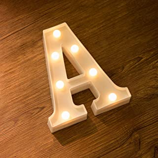 Dukailin Letter Lights Sign 26 Alphabet Light Up Marquee Letters Sign for Night Light Wedding Birthday Party Battery Powered Christmas Lamp Home Bar Decoration (A)