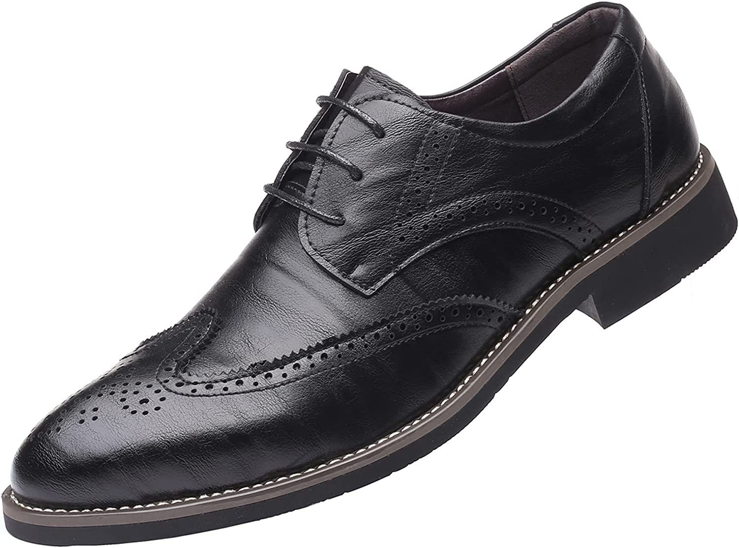 Men's Manmade Leather Lace-up Wedding Business Formal Dress Wingtips Brogue Shoes Oxfords