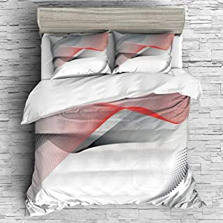 All Season Flannel Bedding Duvet Covers Sets for Girl Boy Kids 4 Pcs (double size)Abstract,Modern Digital Composition with Geometric Elements Squares Dots Curves Waves Decorative,Red Grey Black