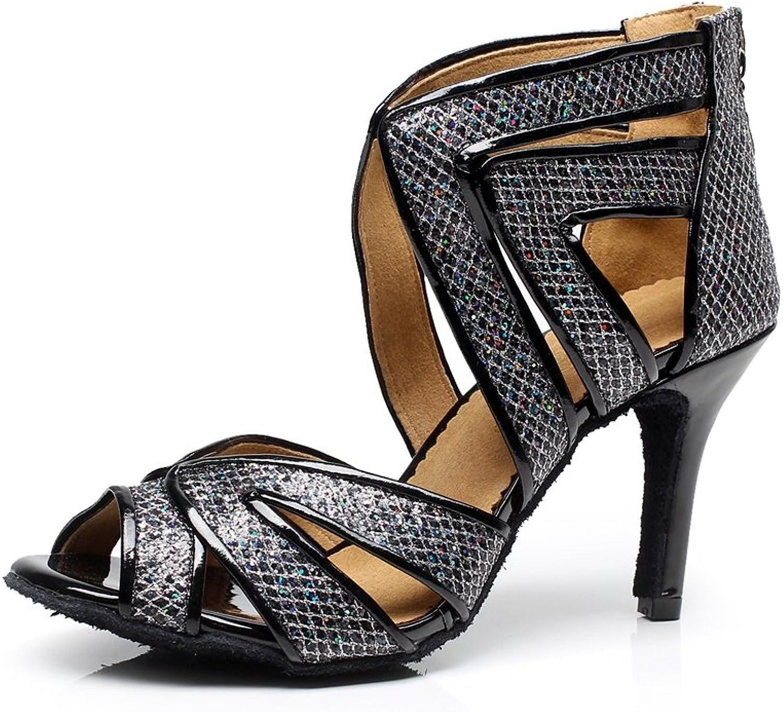 Minitoo QJ7032 Women's Mesh Glitter Salsa Latin Ankle Dance shoes