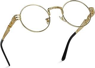 Metal Frame Retro Round Clear Lens Glasses