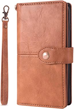 OOALUCK Leather Cover Compatible with Samsung Galaxy Note 10 Plus, Brown Wallet Case for Samsung Galaxy Note 10 Plus