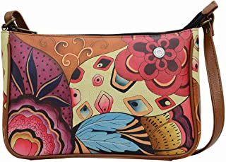 Anna by Anuschka Leather - E-W Shoulder Crosbody Bag -Key Fob Bundle