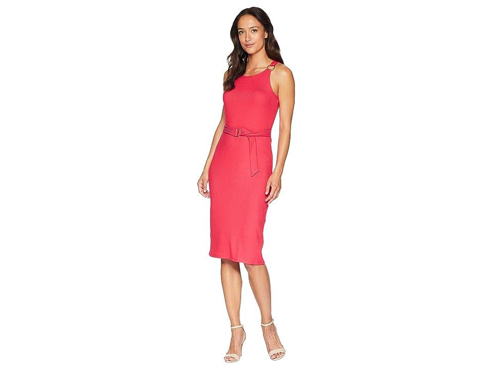 MICHAEL Michael Kors Rib Circle Trim Dress (Deep Pink) Women
