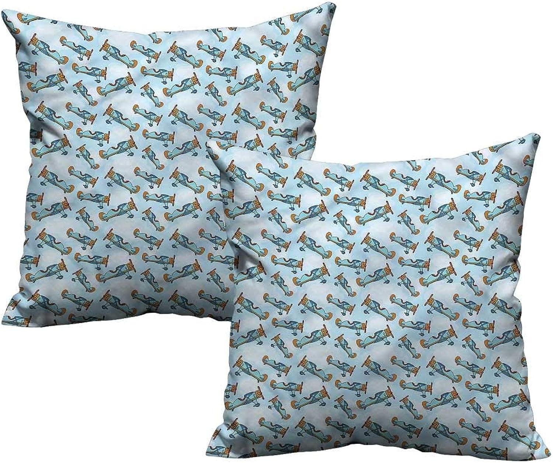 ParadiseDecor Airplane,Toddler Pillowcase Cartoon Kids Aircrafts 24 x 24 x2 Fabric Pillow Pack of 2