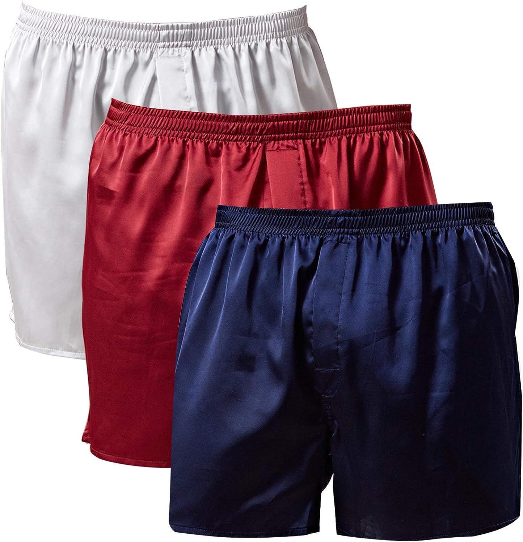 Mens Satin Tampa Mall Boxer Shorts Max 82% OFF Silk Underwear Pajamas Sleepwear Bottom
