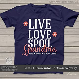 grandma shirt | live love spoil | nana or grandma UNISEX shirt personalized with grandkids names | mother's day shirt
