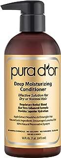 PURA D-OR Deep Moisturizing Premium Organic Argan Oil and Aloe Vera Conditioner, 16 Fluid Ounce