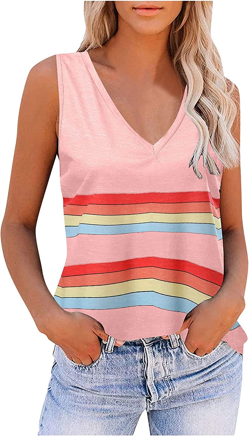 Womens Summer Tops Loose Fit,Women's V Neck Basic Tank Tops Casual Loose Sleeveless Color Block Shirts