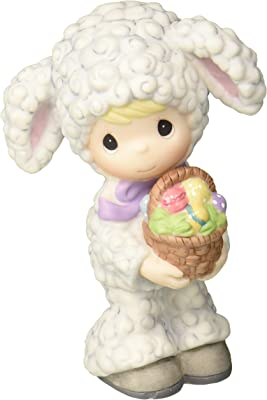 Precious Moments 179029 Boy in Lamb Costume with Basket of Eggs Porcelain Figurine, Multi