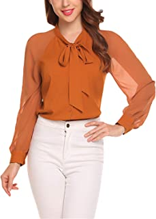 a88553056f49ec Womens Button Down Shirts Leopard Print Blouses Casual Long Sleeve Office  Lady Henley Shirt with Tie