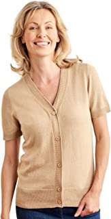 Womens Silk Cotton Short Sleeved V-Neck Cardigan