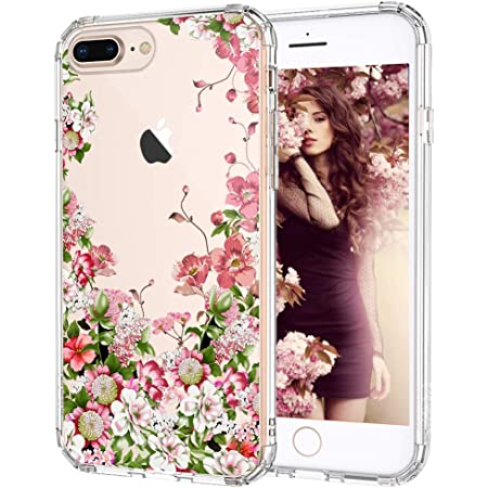 MOSNOVO Case for iPhone 8 Plus, Floral Garden Flower Slim Clear Case Design with Shockproof TPU Bumper Protective iPhone 7 Plus Phone Case for Women ...