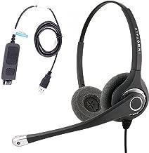 Professional Binaural Noise Cancel Mic Plug N Play USB Computer Headset for MS Lync, Skype, Cisco Jabber, Avaya One-X Agent. Large and Swiveling Ear Pad. Plantronics Compatible QD