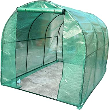 Cozyel Mini Walk-in Greenhouse Indoor Outdoor - Portable Plant Gardening Greenhouse (118L x 79W x 79H Inches) Green with Zipper Door, Grow Seeds & Seedlings, Herbs Flowers or Tend Potted Plants