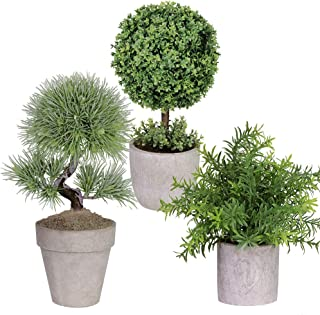 Winlyn 3 Pack Artificial Plastic Mini Plants Boxwood Topiary Trees Shrubs Fake Green Rosemary Plant Bonsai with Gray Pot for Bathroom,House Decorations,3 Styles