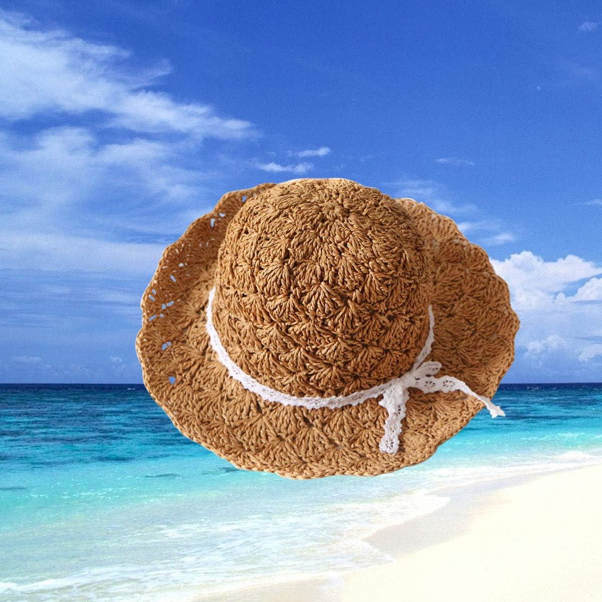Kids Children Girls Foldable Straw Hat Topee Lace Ribbon Bow Bohemia Cap for Beach Summer Sun Beige