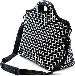 Case Wonder Lunch Bags, Bolsa de almuerzo Neoprene, Bolsa de almuerzo grande aislada, Caja de almuerzo lavable reutilizable para hombres/mujeres/Picnic/Trabajo/Escuela (L, Rejilla Negra)
