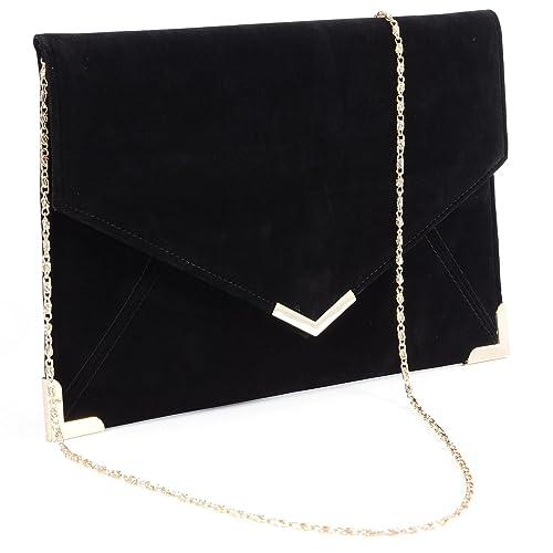 Suede Velvet Clutch Evening Bag Wedding Envelope Bag Prom Party Handbag  Golden Trim a0b82aa1342c