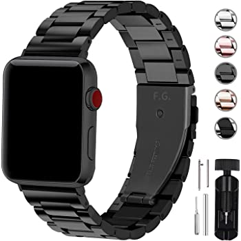Fullmosa Compatible Apple Watch Band 42mm 44mm 38mm 40mm, Stainless Steel Metal for Apple Watch Series 5 4 3 2 1 Bands, 42mm 44mm Black