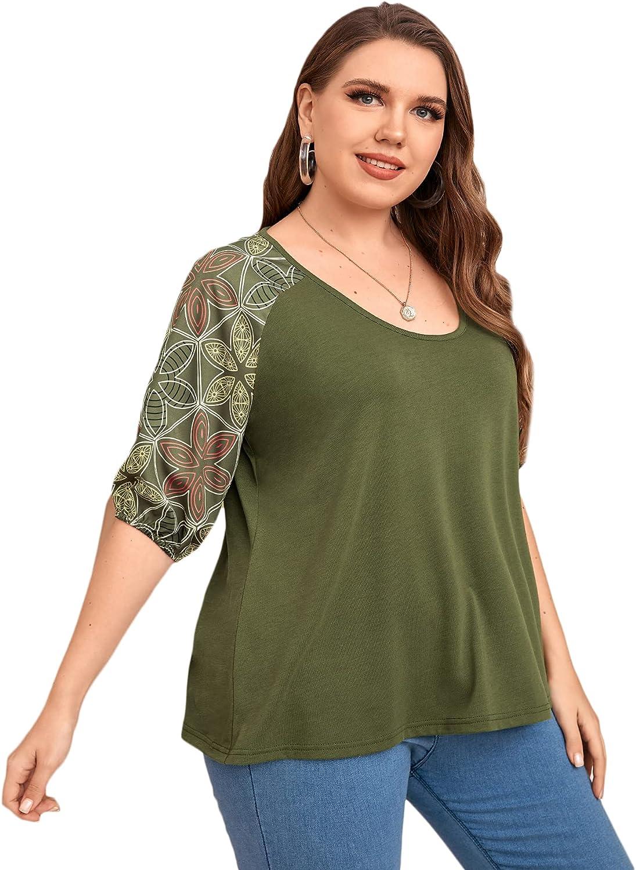 Floerns Women's Plus Size Floral Print Raglan Short Sleeve Casual Tee Shirts