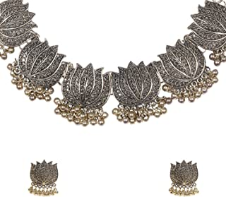 bodha Traditional Indian Handcrafted Antique Gold Oxidised Kamal Lotus Jewellery Necklace Set with Matching Earrings for G...