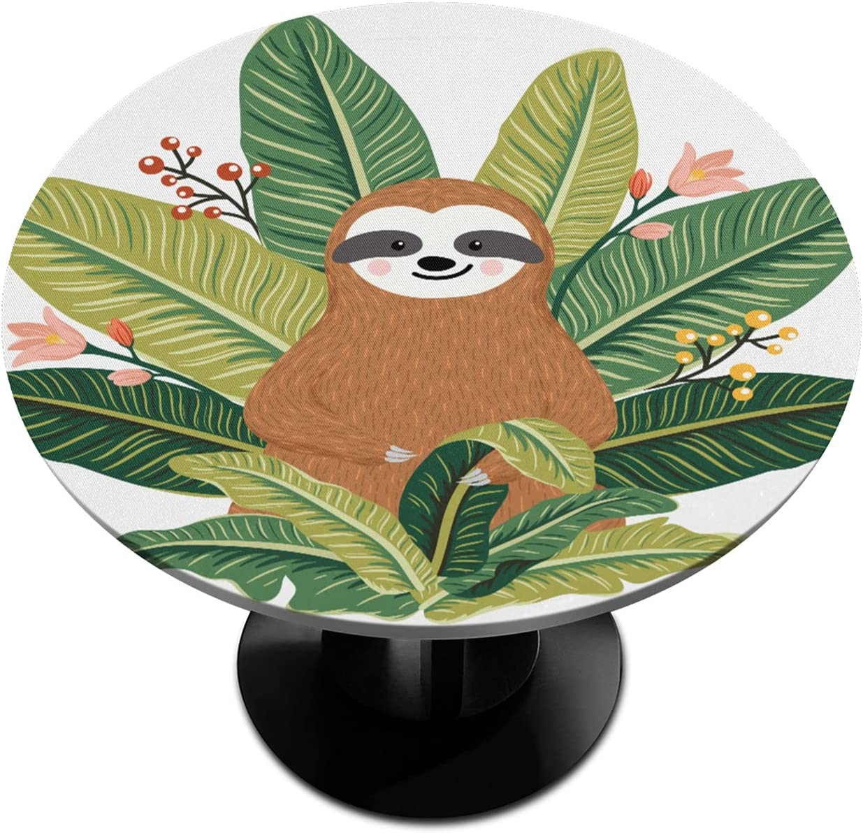 BOLOLI Max 76% OFF Outlet sale feature Baby Sloth Elastic Edged Fitted Round Tablecloth L Banana