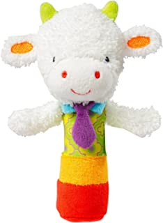 Baby Soft Rattles ,Developmental Toy Hand Grip, Animal Baby Soft Plush Hand Rattle Squeaker Sticks for Toddlers (Baby Sheep)