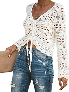Women's V Neck Sexy Lace Up Drawstring Bow Tie Lightweight Hollow Out Flounce Crop Tanks Camisole Tops Beach Cover Up