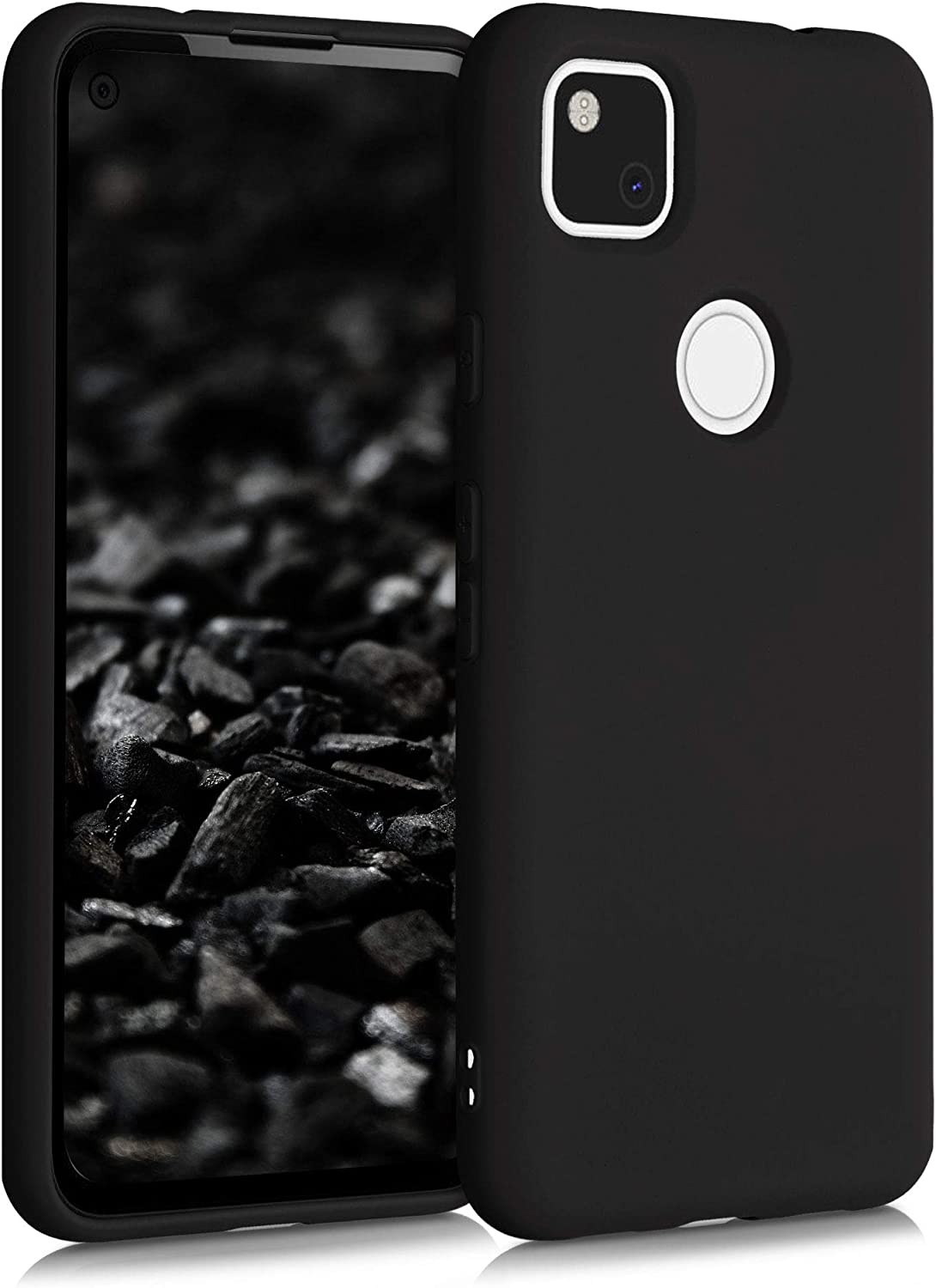 kwmobile Case Compatible with Google Pixel 4a - Case Soft TPU Slim Protective Cover for Phone - Black Matte